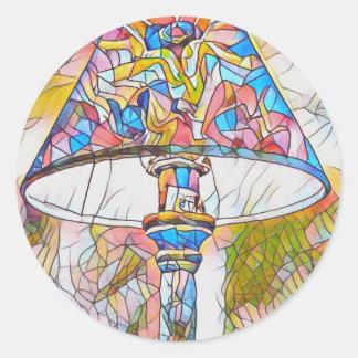 Adesivo Redondo Máscara de lâmpada artística legal do vitral