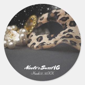 Adesivo Redondo Máscara do mascarada do leopardo & favor de