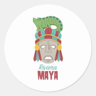 Adesivo Redondo Máscara do Maya de Riviera