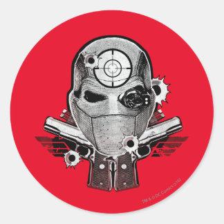 Adesivo Redondo Máscara do pelotão   Deadshot do suicídio & arte