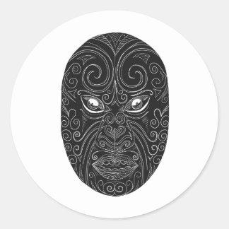 Adesivo Redondo Máscara maori Scratchboard
