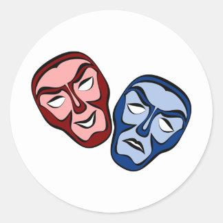 Adesivo Redondo Máscaraes protectoras clássicas do teatro