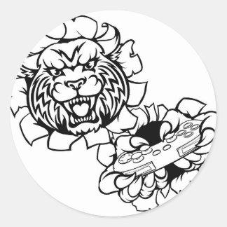 Adesivo Redondo Mascote desorganizada do Gamer de Esports do lince