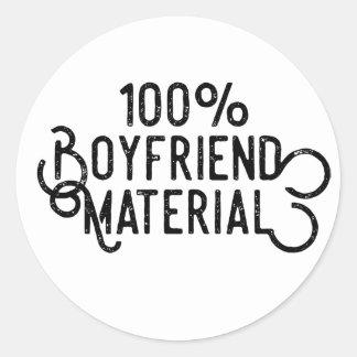 Adesivo Redondo Material 100% do namorado
