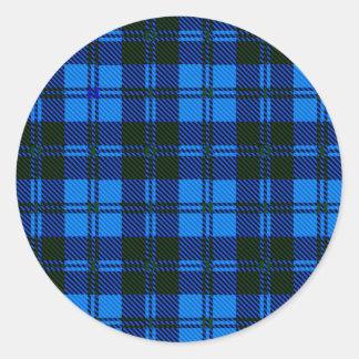 Adesivo Redondo Material azul de lãs do Tartan