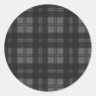 Adesivo Redondo Material cinzento de lãs do Tartan da verificação