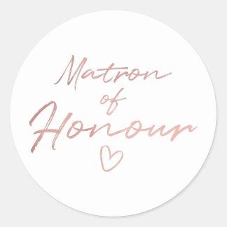Adesivo Redondo Matrona da honra - o falso cor-de-rosa do ouro