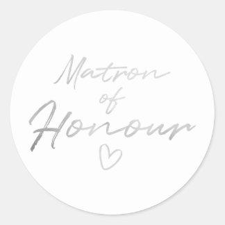 Adesivo Redondo Matrona da honra - o falso de prata foil a