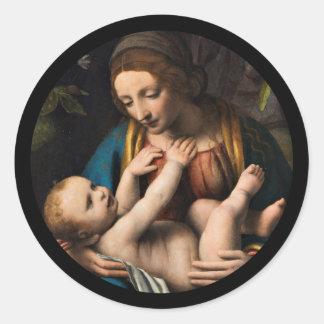 Adesivo Redondo MED Kristusbarnet de Madonna