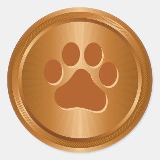 Adesivo Redondo Medalha de bronze do vencedor da exposição de cães