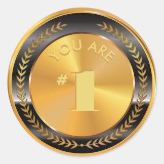Adesivo Redondo Medalha de ouro clássica customizável. Você é o