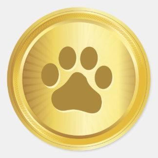Adesivo Redondo Medalha de ouro do vencedor da exposição de cães