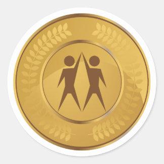 Adesivo Redondo Medalha de ouro dos trabalhos em equipe
