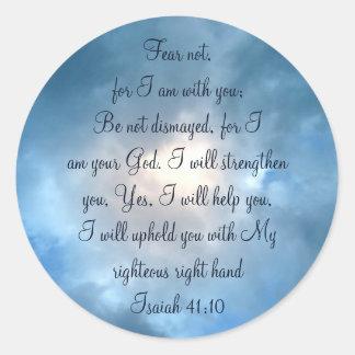 Adesivo Redondo Medo não, nuvens do céu da escritura de Isaiah