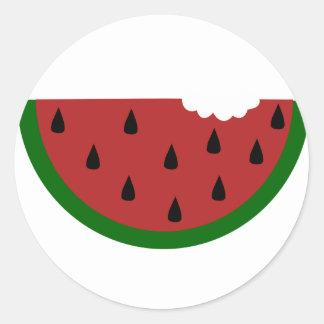 Adesivo Redondo melancia mordida fruta da fatia da comida