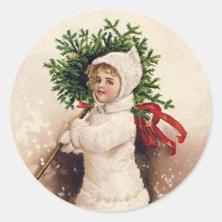 Adesivo Redondo Menina com árvore de Natal, Ellen Clapsaddle do