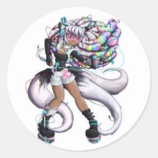 Adesivo Redondo Menina de Kitsune do Cyber