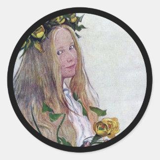 Adesivo Redondo Menina de Lucia do sueco com flor
