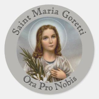 Adesivo Redondo Menina do lírio de Maria Goretti do santo