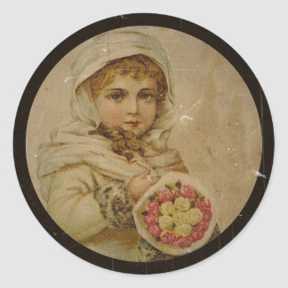 Adesivo Redondo Menina do Victorian com rosas de Natal