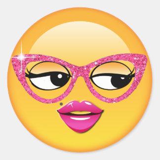 Adesivo Redondo Menina Flirty ID227 de Emoji