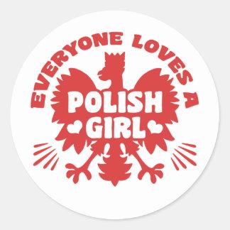 Adesivo Redondo Menina polonesa