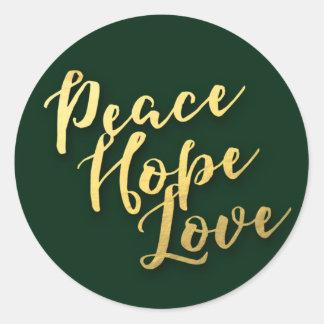 Adesivo Redondo Mensagem do selo do envelope do feriado da paz