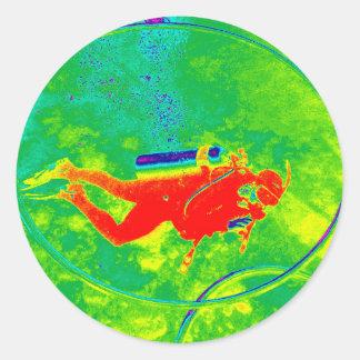 Adesivo Redondo Mergulhador de mergulhador de Havaí