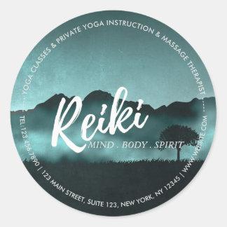 Adesivo Redondo Mestre de Reiki e instrutor naturais da mediação