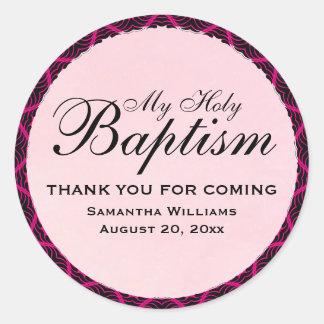 Adesivo Redondo Meu art deco santamente do rosa do baptismo