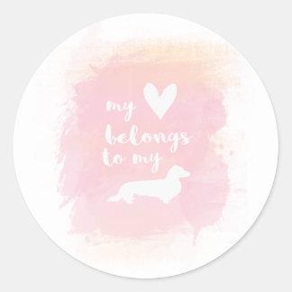 """Adesivo Redondo """"Meu coração pertence caligrafia cor-de-rosa aos"""