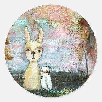 Adesivo Redondo Meu melhor amigo, coelho do bebê, arte abstracta