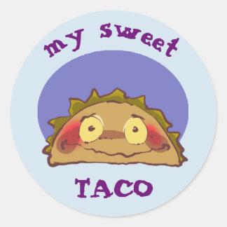 Adesivo Redondo meus desenhos animados engraçados do taco tímido