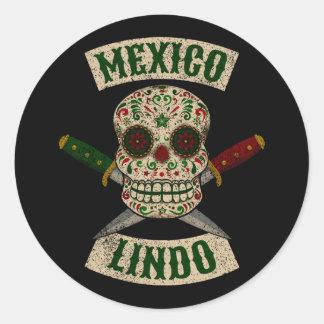 Adesivo Redondo México Lindo. Crânio mexicano com punhais
