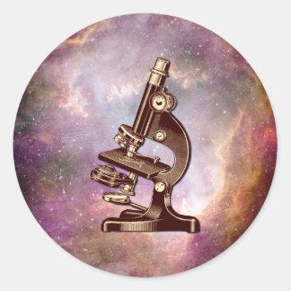Adesivo Redondo Microscópio do vintage