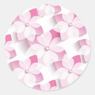 Adesivo Redondo Minhas flores dos rosa e de brancos