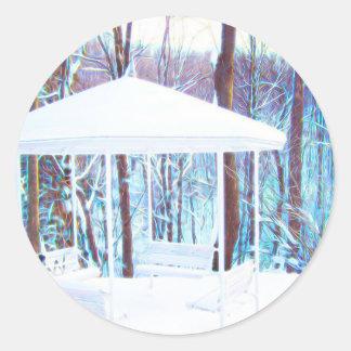 Adesivo Redondo Miradouro no inverno