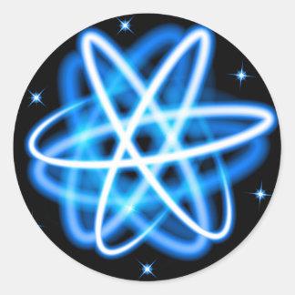 Adesivo Redondo Modelo de brilho do átomo das luzes de néon do