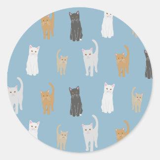 Adesivo Redondo Modelo de gato autocolante azul