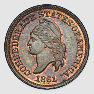 Adesivo Redondo Moeda de um centavo de cobre da guerra civil 1861