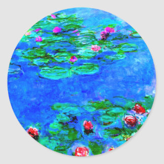 Adesivo Redondo Monet: Trabalhos de arte do vermelho dos lírios de