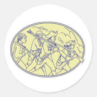 Adesivo Redondo Mono oval de marcha dos soldados revolucionários