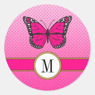 Adesivo Redondo Monograma cor-de-rosa bonito do costume da