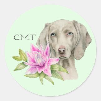 Adesivo Redondo Monograma da aguarela | do cão e do lírio de