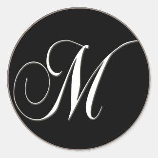 Adesivo Redondo Monograma de M - preto e branco elegante