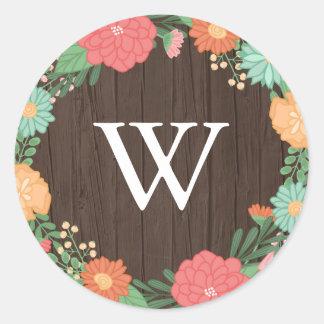 Adesivo Redondo Monograma de madeira do casamento da grão da