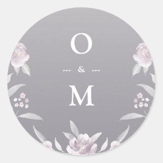 Adesivo Redondo Monograma de prata floral elegante do casamento do
