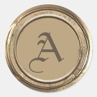 Adesivo Redondo Monograma do selo da cera do ouro