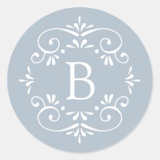 Adesivo Redondo Monograma elegante francês do azul e o branco