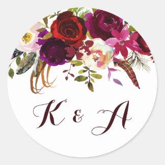 Adesivo Redondo Monograma floral boémio do casamento do outono